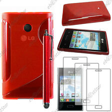 Housse Etui Coque Silicone S-line Rouge LG Optimus L3 E400 + Stylet + 3 Films