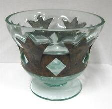 CAGED / IMPRISONED BLOWN GLASS BOWL SEA GREEN WITH COPPER BAND DIAMOND CUTOUTS