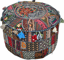 """Indian Vintage Ottoman Round Pouf 18"""" Inch Handmade Black Footstool Chair Cover"""