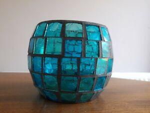 Blue Glass Mosaic Tealight Holder