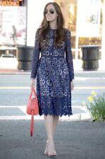 Vestido de encaje Zara Azul Marino de blonda a mano Bordado Crochet Midi 9775/041 XS