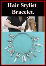 Perfect for HAIR STYLIST: Hair Stylist related Charms Bangle Bracelet.