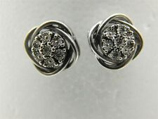 Pretty Authentic Sterling Silver Cluster Diamond Accent Post Earrings