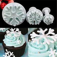 Fun 3X Snowflake Fondant Cake Decorating Sugarcraft Cutter Plunger Mold Mould FT