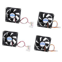 Pack of 4 12V 3Pin 80mm Mini 8cm Fan Silent Cooler Cooling Fan for Computer