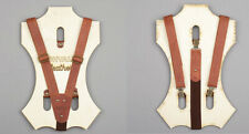 Leather suspenders for men in brown color (Clip-On) Brown /See Video/