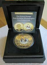 BRADFORD EXCHANGE, 2014 THE NEW ROYAL PRINCE GOLD FIVE CROWN PHOTOGENIC COIN.