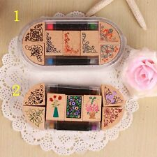 7 stamps With 2 ink pad pen DIY Wooden Classic Flower Stamp Kids Gift
