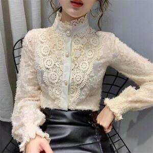 Women Lolita Lace Ruffle Shirt Tops Stand Collar Long Sleeve Blouse Victorian