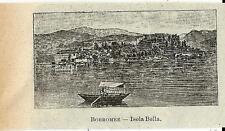 Stampa antica ISOLA BELLA piccola veduta Lago Maggiore 1905 Old antique print