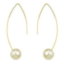 Fashion Costume Jewellery Gold White Pearl Bridal Drop Dangle Earrings E1080