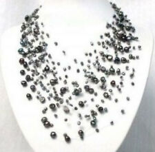 """Beautiful black gray freshwater pearl necklace new 17"""""""