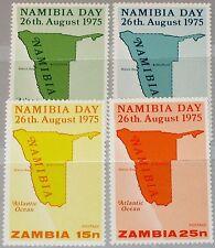 ZAMBIA SAMBIA 1975 155-58 149-52 Map of Karte von Namibia Day Tag MNH