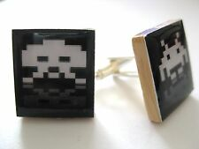 Space Invaders Cuff Links Retro Gaming Cufflinks Black/white Handmade in the uk