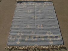 Fantastic Hand Woven Rug Carpet Area Rug Beetles Mushrooms 3x5 Blue & W  Wool LN