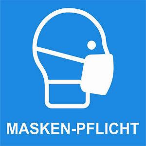 Aufkleber MASKEN-PFLICHT 10 x 10 cm Wetterfest - UV Beständig