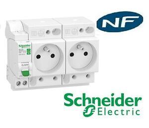 Combiné Disjoncteur + 2 prises de courant  embrochable XE  - Schneider R9ECS616