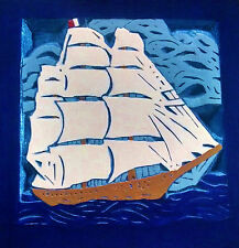 Handcrafted Chip Carved Sailing Ship