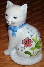 Unique Hand-Painted Powder Blue Floral Cat (Flower Garden, Blue Bow) 7 in.