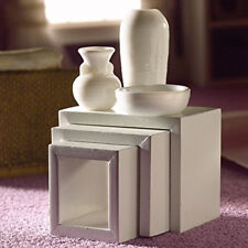 Dolls House Miniature 1 12th Scale Modern White Nest of Tables