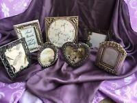 Vintage Decor Boho Silver Gold Picture Frame Collage Lot 7 Mini Purple Gift Deco