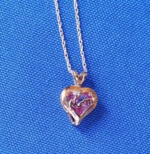 "10K Gold Heart Shaped ""Mom"" Pendant with chain a diamond & a pink stone((311))"