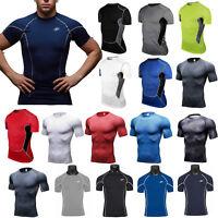 Men Compression T Shirt Short Sleeve Base Layer Tank Vest Gym Sport Fitness Tops