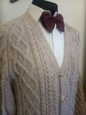 "Grey Beige Aran cable knit cardigan L 44"" - Ditsy Vintage Handmade"