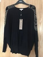 NEW+ Tags Women's Phase Eight Claudia Chain Knit Black Batwing Jumper Size Small