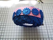 2m -Royal Blue, Daisy Flower Motif  Appligue,Trimmings,Wedding Satin Lace Ribbon