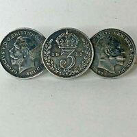 Antique silver threepence brooch Edward VII & George VI 42 x 16 mm