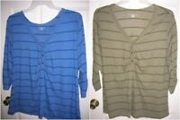 NEW womens shirt  3/4 sleeve stripeS V-NECK (size 1X,2X) BLUE,GREEN T20