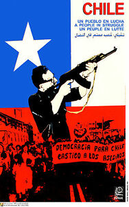 Political OSPAAAL POSTER.ALLENDE Fighting.Chile art.Pinochet.Chilean Fascism.42