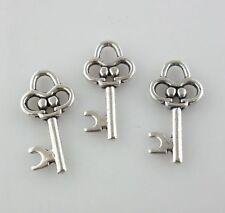30pcs Tibetan Silver key Charms Pendants Crafts Jewelry Making 10x19.5mm