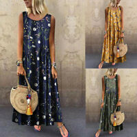 Women Round Neck Print Dress Sleeveless Casual Loose Boho Maxi Long Dresses GIFT