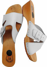 HOLZ (e) CLOGS  Pantolette Gr.37 Echt LEDER, Weiss (Made in Poland 23-3.4-81)