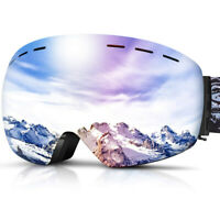 Large Spherical Ski Goggles with Interchangeable Magnetic Lens, OTG Frameless
