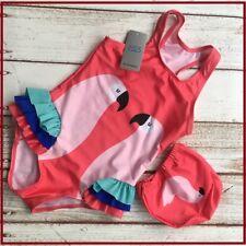 New Girls Bikinis One Piece Swimsuits Suit Kids Swan Flamingos Cartoon Cap Swan