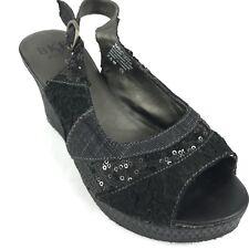 BKE SOLE Window Women's Black Wedge Heels Sling Back Fabric Sandal Shoe Sz 7.5 M