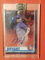 2019 Topps Clearly Authentic Kris Bryant Blue On Card Auto #d 7/25 SP Chi Cubs