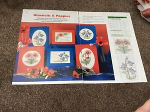 6 Bluebells & Poppies Card Designs cross stitch chart only / 1397