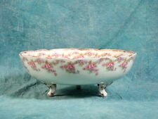 Antique BRIDAL WREATH Rose Limoges France Bawo Dotter Elite Pink BIG FOOTED BOWL