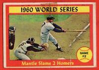 1961 Topps #307 Mickey Mantle VG-VGEX+ TAPE World Series HOF New York Yankees