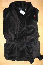 NWT RALPH LAUREN Big Polo Pony Plush Bath Robe BLACK RED ONE SIZE FITS ALL