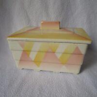 HIRSCHAU schöne Keramik Deckeldose Spritzdekor Art Deco creme/rosa/gelb Dose