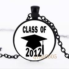 Class of 2012 Graduation Glass Dome black Chain Pendant Necklace wholesale