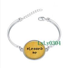 Blessed Be glass cabochon Tibet silver bangle bracelets Fashion