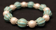 """Simulated Turquoise Stretch Bracelet with White Beads, 7"""" - 11"""""""