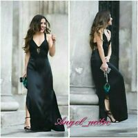 ZARA NEW BLACK LONG SLIP DRESS WITH LOW BACK SIZE L UK 12 EU 40 US 8
