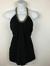 Boston Proper Small Black Halter Top Gold-Color Chain Stretch Soft Rayon Dressy